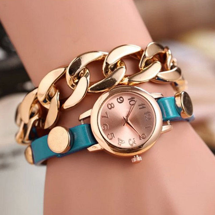 2014 Newest women girl Punk Women Gold Dial Leather Chain Wrap Analog Quartz Wrist Watch Bracelet bangles T-east<br><br>Aliexpress