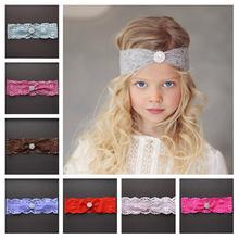 Newborn Cute Baby Pearl Rhinestone Hair Band Flower Lace Baby Headband Elastic Ribbon Hair Accessories Headwear Bandana bebe
