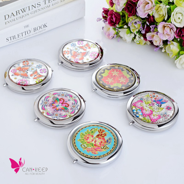 Hot Sell Women Butterfly Flower Design Metal Pocket Mirror Compact Branded Makeup Cosmetic Hand Portable Vanity Mirrors espelho(China (Mainland))