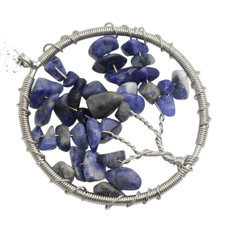 Tree of life Wire Wrapped Chip Sodalite Pendant ,Silver Brass finding with chip Sodalite natural gem stone Pendant 12pcs/lot(China (Mainland))