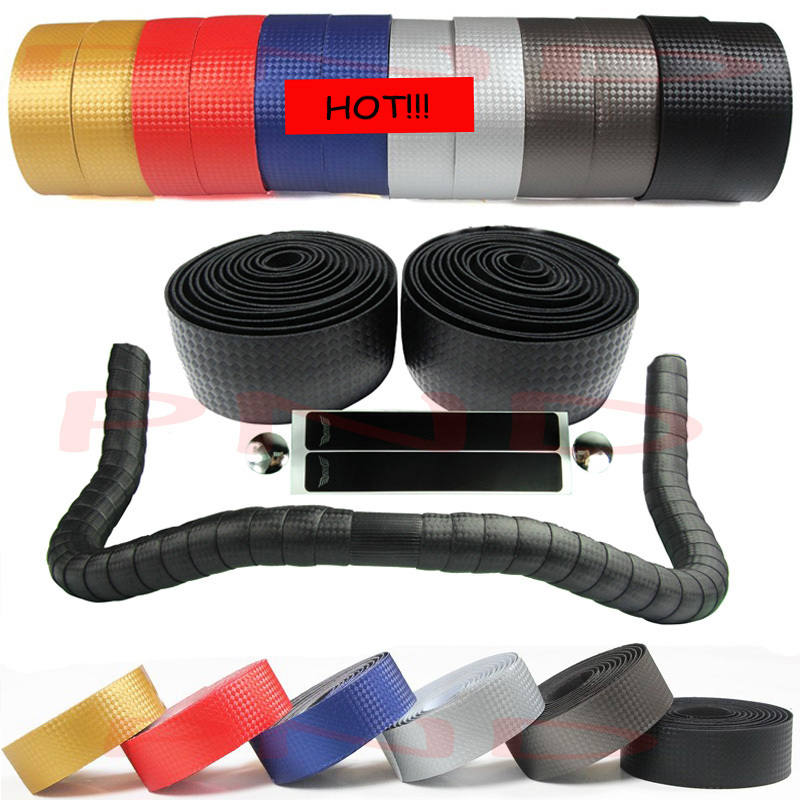 New High Quality Cycling Road Bike Sports Bicycle Cork Handlebar Tape Black 2 Bar Plug Carbon
