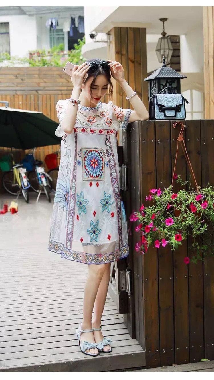 2016 summer new fashion women loose cotton embroidery dress two piece set flower korean dress vestido elbise(China (Mainland))