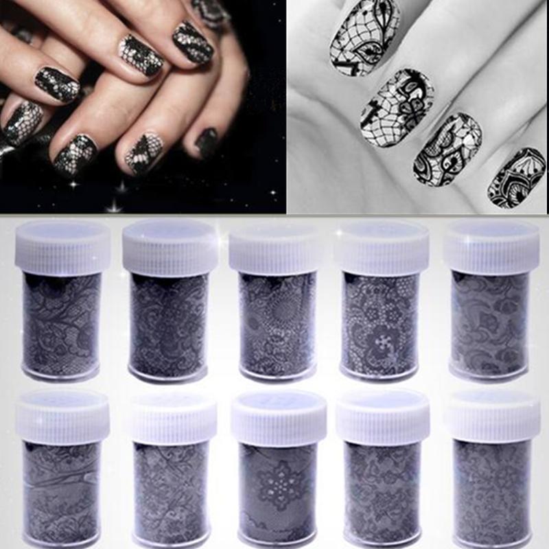 10 Rolls 100cm*4cm Black White Lace Flower Transfer Foils Nail Art Sexy Sticker Paper Decoration Decal Polish Tools DIY Manicure