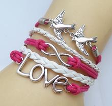 NEW DIY Infinity Fashion Leather Pair of lovebirds LOVE Friendship Charm Sideway Braided Wristband Bracelet(China (Mainland))