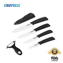 "Ceramic knife set 3"" 4"" 5"" 6"" inch + Peeler + Covers White blade ABS Handle kitchen knivesParing knife 6 color choose(China (Mainland))"