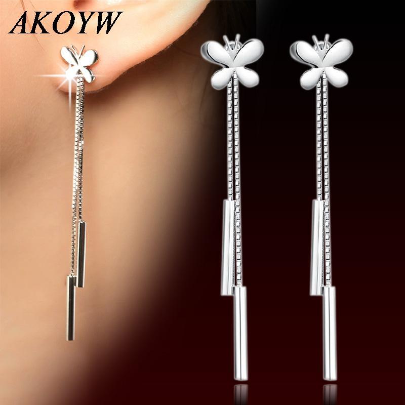 earrings butterfly earrings female models tassel ear wire wild fashion jewelry cute vintage jewelry super flash Silver plated(China (Mainland))