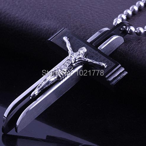 Free shipping 2015 Fashion Jesus Cross Titanium steel charm Pendant Necklace for men Jewelry(China (Mainland))