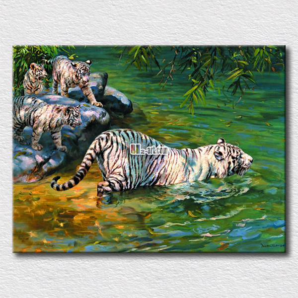 White tiger swimming picture printing canvas home decoration arts for friends gift wall paintings arts(China (Mainland))