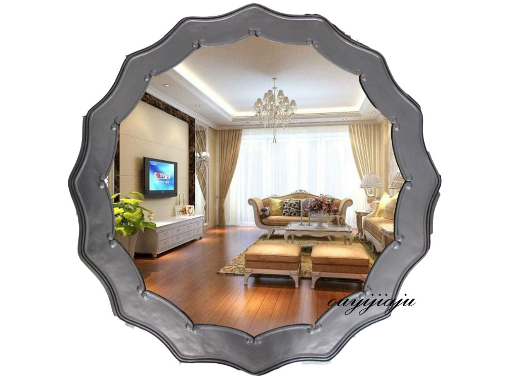 Large Big Decorative Cosmetic Antique Wall Bathroom Mirror With Frame Vintage Round Mirror