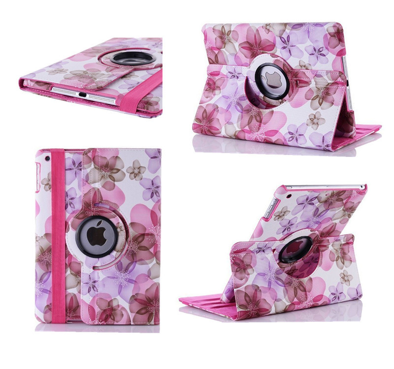 Beautiful Charming Big Flowers Pattern PU Tablet Cover Stand 360 Degree Rotatable Case for apple Ipad 2/ipad3/ipad4 Protection(China (Mainland))