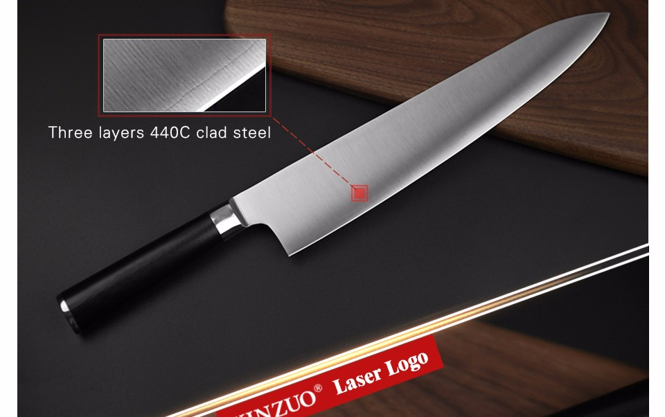Buy XINZUO 10.5 inch butcher knife 3-layer 440C clad steel santoku knife kitchen knife G10 handle Japanese chef knife free shipping cheap