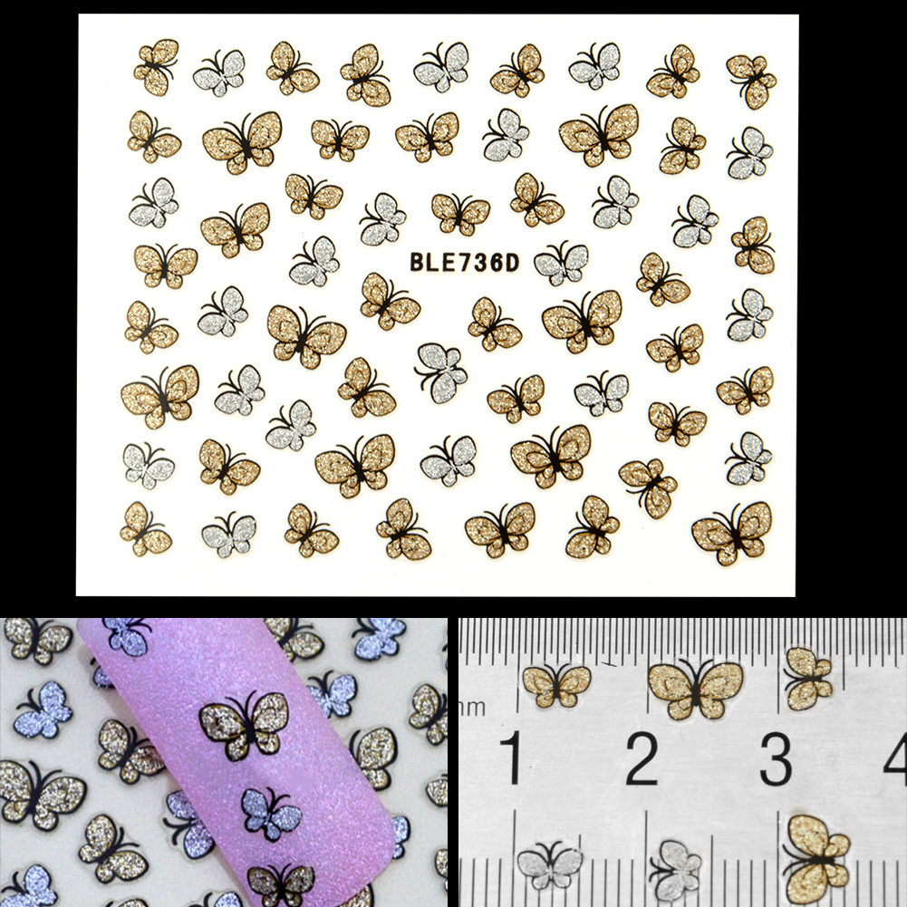Hot Sale Glitter Butterfly Design Nail Art Stickers Decals Nail Tips Decoration Manicure Kit free shipping<br><br>Aliexpress