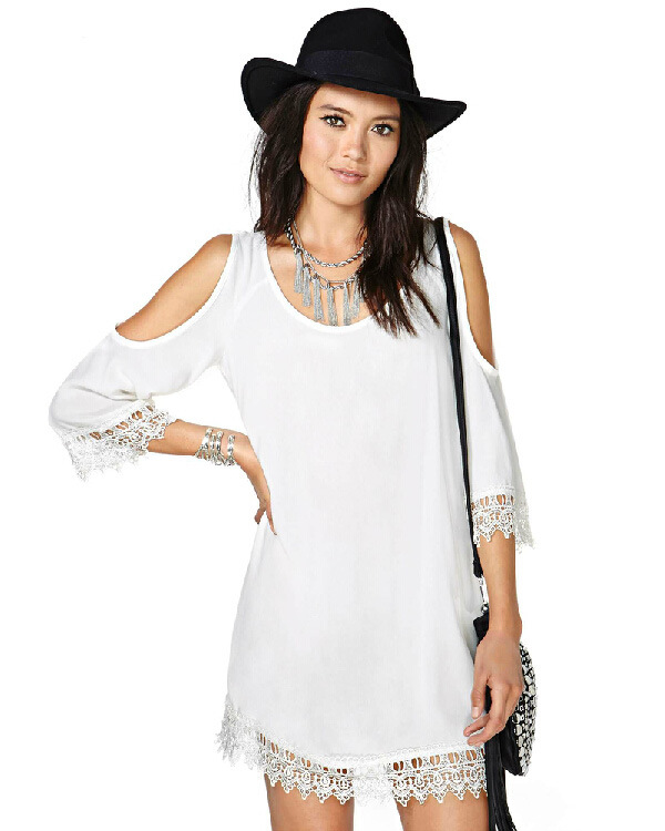 Cheap Price Factory Direct Sale Clothing Free Shipping Lady Summer Autumn Wear Dew Shoulder Design White Lace Chiffon Dress(China (Mainland))