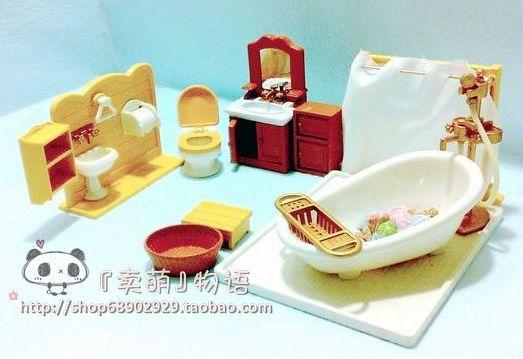Japan Anime Kids Babys Toys1_12 Toys Sets Home DollHouse BathRoom Miniature Hard Plastic Furniture Minicraft Families(China (Mainland))