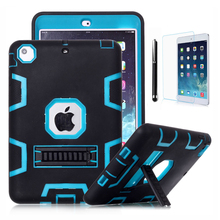 Case For iPad Mini 3 2 1 Retina Kids Safe Armor Shockproof Heavy Duty Silicone Hard Case Cover w/Screen Protector Film & Stylus(China (Mainland))