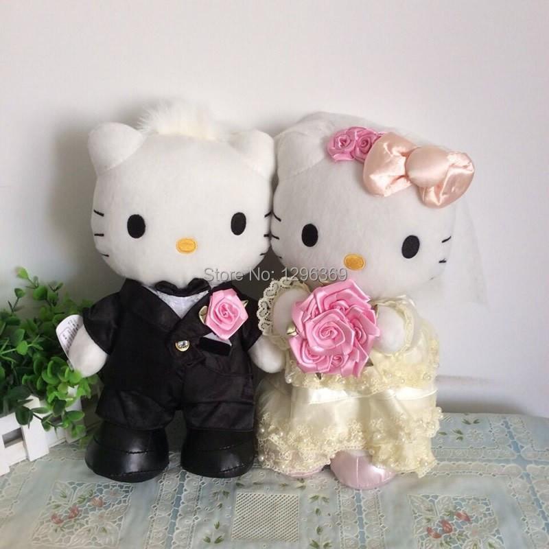 1 Pair 30cm=11.8'' Wedding Couple Hello Kitty Stuffed animals plush toys for Valentine wedding gift,Free shipping(China (Mainland))