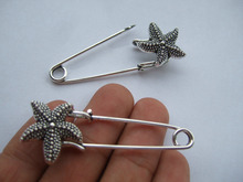 12x Large Durable Strong Metal Kilt Scarf Brooch Safety Pin With Starfish 51mm