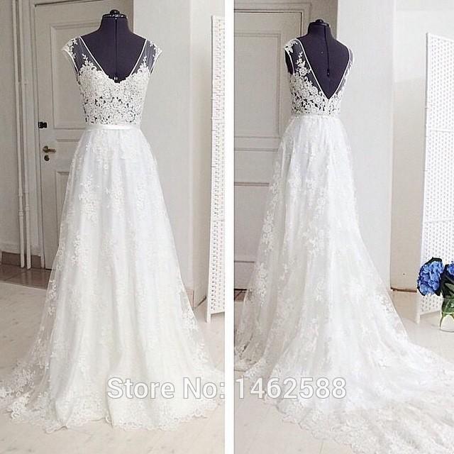 Real sample v neckline cap sleeves lace wedding gowns real for Designer sample wedding dresses