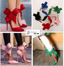 Plus size 43 scarpe donna big bowtie pompe degli alti talloni 2015 farfalla scarpe a spillo a punta donna scarpe da sposa zapatos mujer(China (Mainland))
