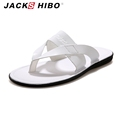 JACKSHIBO 2016 luxury brand Summer Men slipper fashion designer men leather Sandals Italian quality flip flops