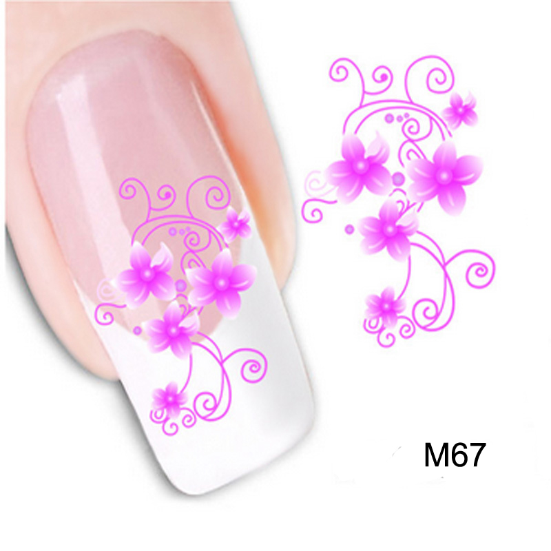 Beauty 1PCS Nail Sticker Water Transfer Hot Pink Flower DIY Tips Nails Beauty Manicure Nail Decals(China (Mainland))