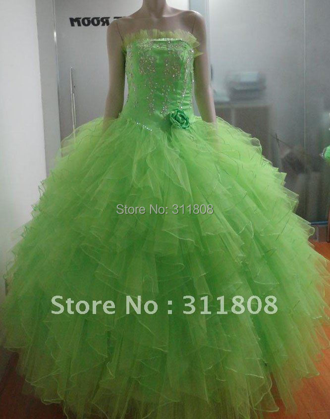 Top Quality Embroidery Tulle Ruffles Quinceanera Dress Gown Princess Dress Sweet 15 Dress-OYB029(China (Mainland))