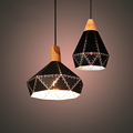 American Retro Vintage Loft Creative Origami Iro Wood Led E27 Pendant Light For Living Room Dining