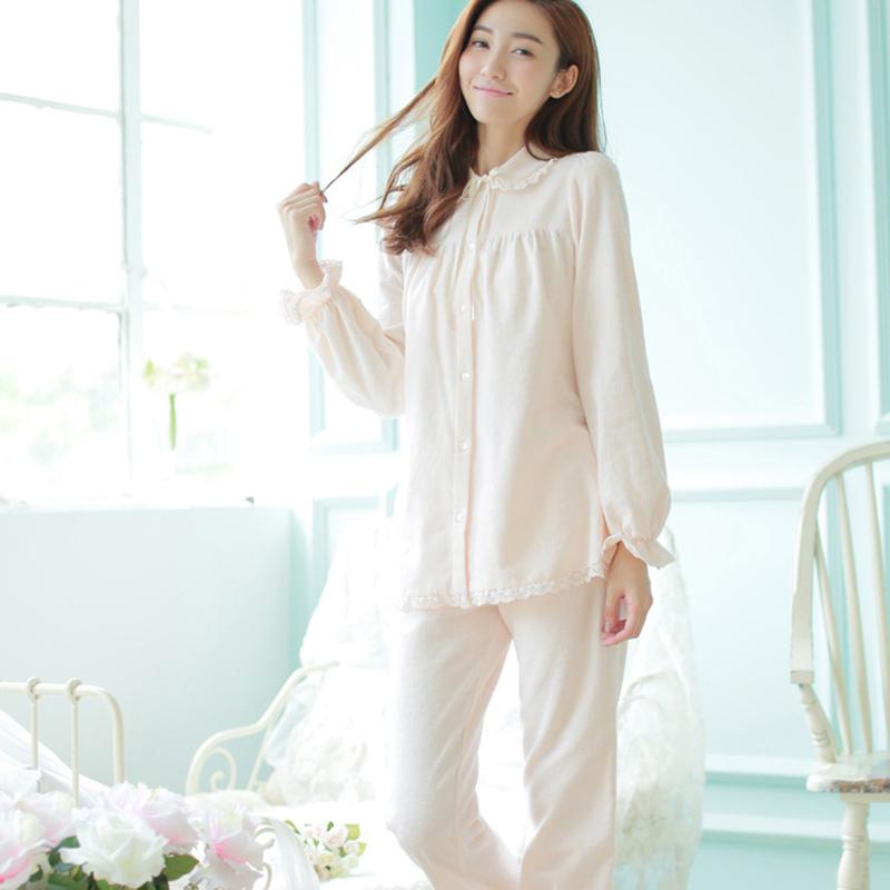 Free Shipping 100% Cotton 2015 New Winter Princess Women's Pijamas Pants Set Sleepwear Home Cloth Pink and Beige Nightgown(China (Mainland))