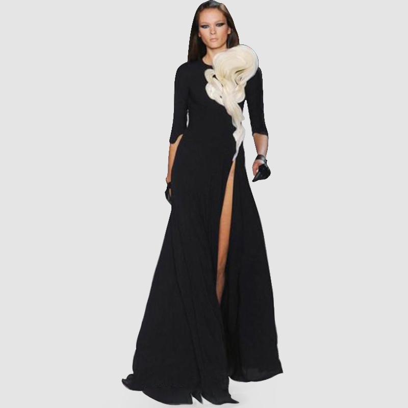 Kim kardashian black dress with white flower