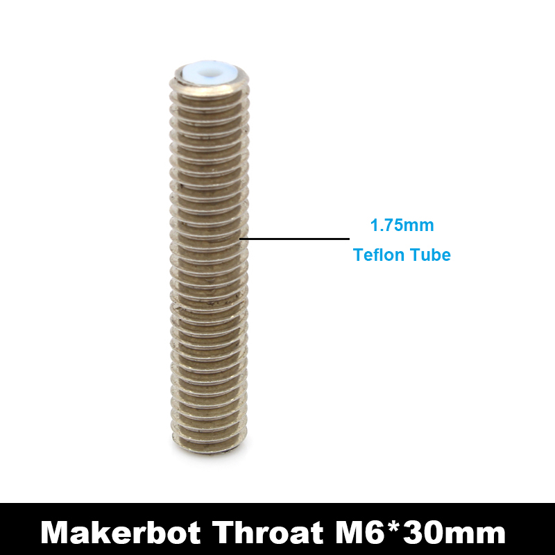 1piece M6x30mm Stainless Steel Nozzle Throat w teflon tube for Makerbot MK8 3D Printer 1 75mm