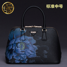 PMSIX Chinese Style Women Bag Cattle Split Leather Flower Print Ladies Retro Tote Bag Crossbody Designer Handbag 141105H(China (Mainland))