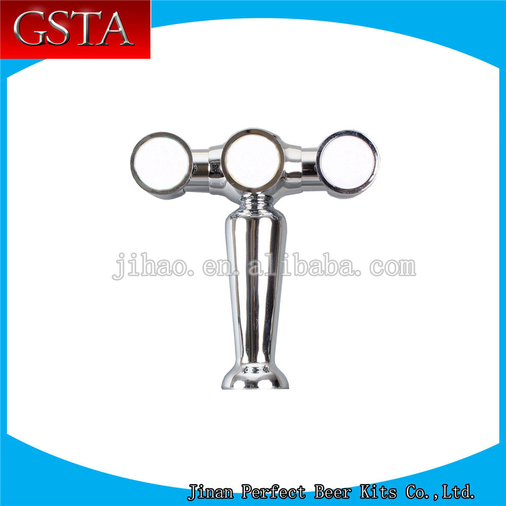 high quality vase type 3 taps line sliver chrome plated brass beer column(China (Mainland))