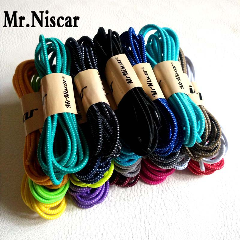 Mr.Niscar 5 Pair 100cm Fashion No Tie Locking Shoelaces Elastic shoelaces for Running Sneakers Children Safe Elastic Shoe Laces(China (Mainland))