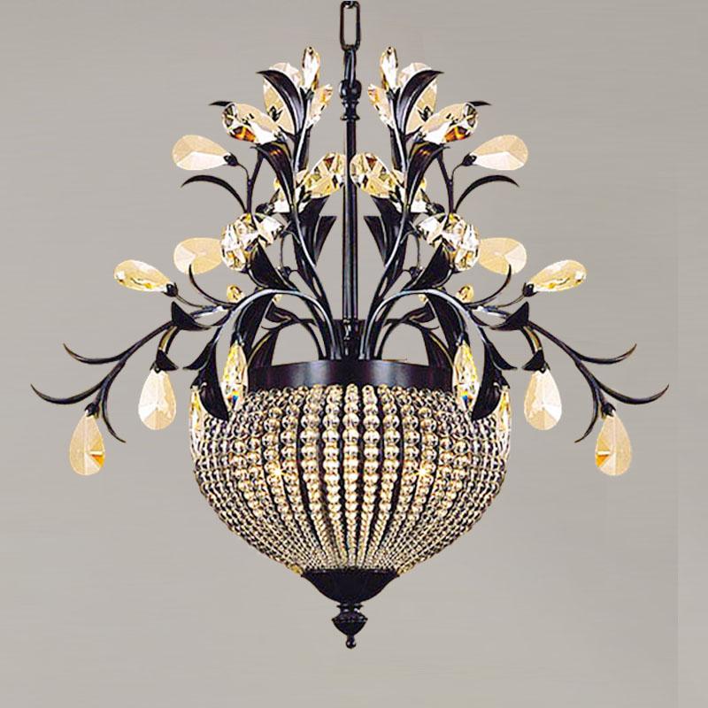 American retro pays noir fer branches laisse perles de cristal e27 lustre pour couloir couloir - Decoration de noel pour lustre ...