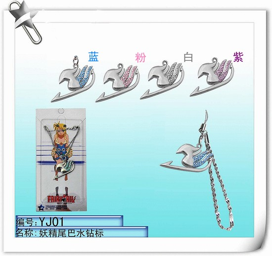 wholesale 10pcs/lot anime Fairy Tail Guild Logo embed Rhinestone Mobile Phone Straps Pendants 4 colors mix free shipping(China (Mainland))