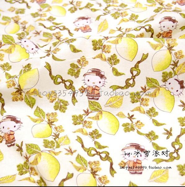 100*140cm (39''*55'') Hello Kitty lemon printed plain cotton cloth for diy sewing patchwork handmade fabrics(China (Mainland))