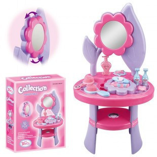 Free shipping baby girl dressing table make up play toys set pretent play princess vanity Flower dresser set musical mirror(China (Mainland))