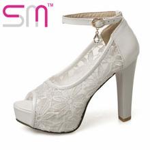 11cm High Heel 2016 Women Pumps Lace Wedding Shoes Woman Peep Toe Summer Pumps Big Size 32-43 Women Shoes fashion pumps women(China (Mainland))