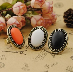 2014 New Fashion Jewelry European Style Personalized Fashion Vintage Oval Gem Retro Ring 66R635 66R636 66R643(China (Mainland))