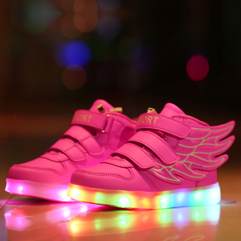 New Children Led Light Luminous Sneakers Kids Usb Charging Fashion Wing Shoes Boys Girls Baby Brand Glowing Canvas 9118(China (Mainland))