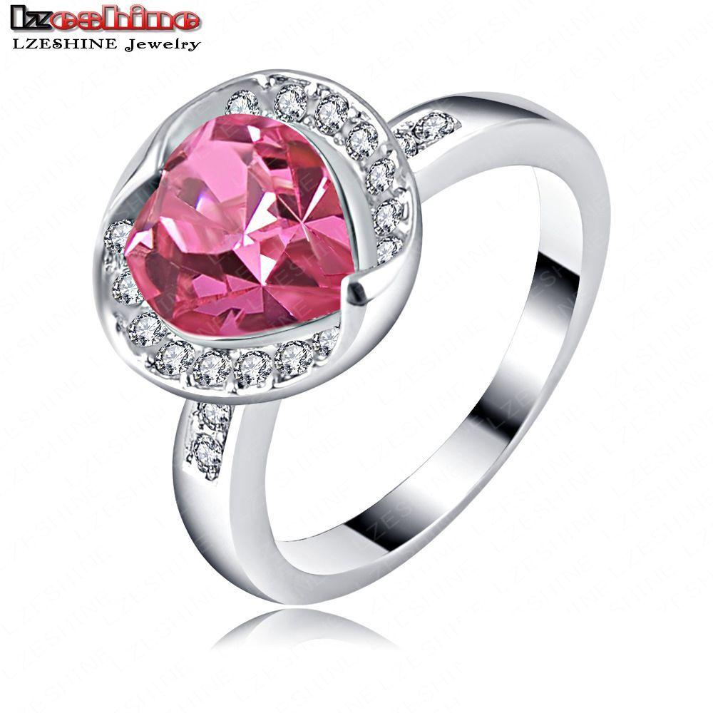 LZESHINE Brand Kate Middleton Heart Wedding Ring Platinum Plated Austrian Crystal SWA Element Female Dress Rings Ri-HQ1120-B(China (Mainland))