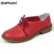 2016 New Women Shoes Casual Genuine Leather Oxford Shoes For Women Flat Shoes Ladies Shoes Loafers Zapatos Mujer(China (Mainland))
