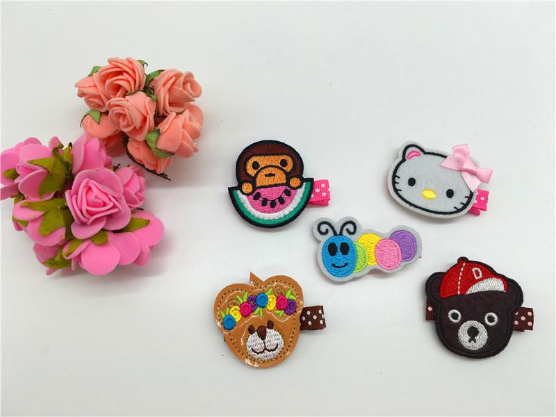 Fashion Embroidery KT Cat Monkey Bear Caterpillary Barrettes Cute Cartoon Babies Felt Hair Clips Baby Girls Hair Accessories(China (Mainland))
