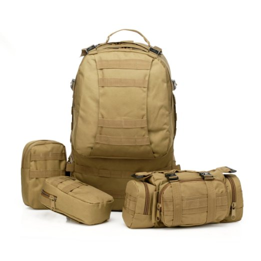 Tan Coyote Brown Tactical Backpack Military Rucksack Hiking Camping Mountain Climbing Backpack Combined with 3 MOLLE Bags(China (Mainland))