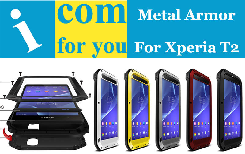 LOVE MEI Armor Dustproof Drop resistance Tempered Glass Aluminum Metal case for Sony Xperia T2 Ultra