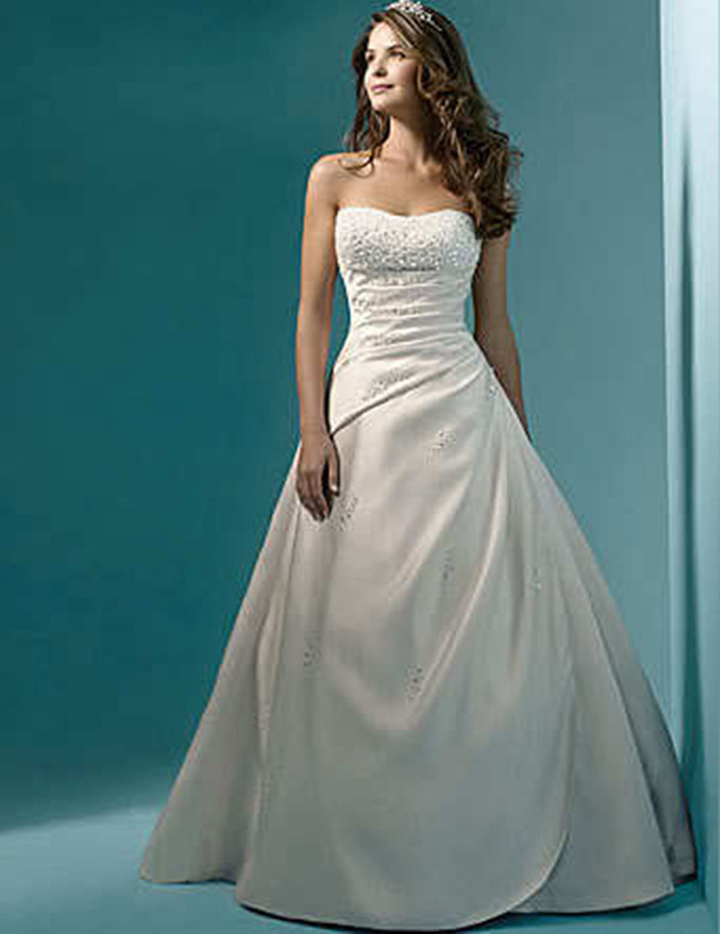 High quality white ivory strapless corset bodice satin a for A line ivory wedding dress