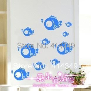 Wall stickers d047 fish bubble glass bathroom waterproof toilet cabinet home decal decor cute fashion family kid, 10 set - cc 414349 store