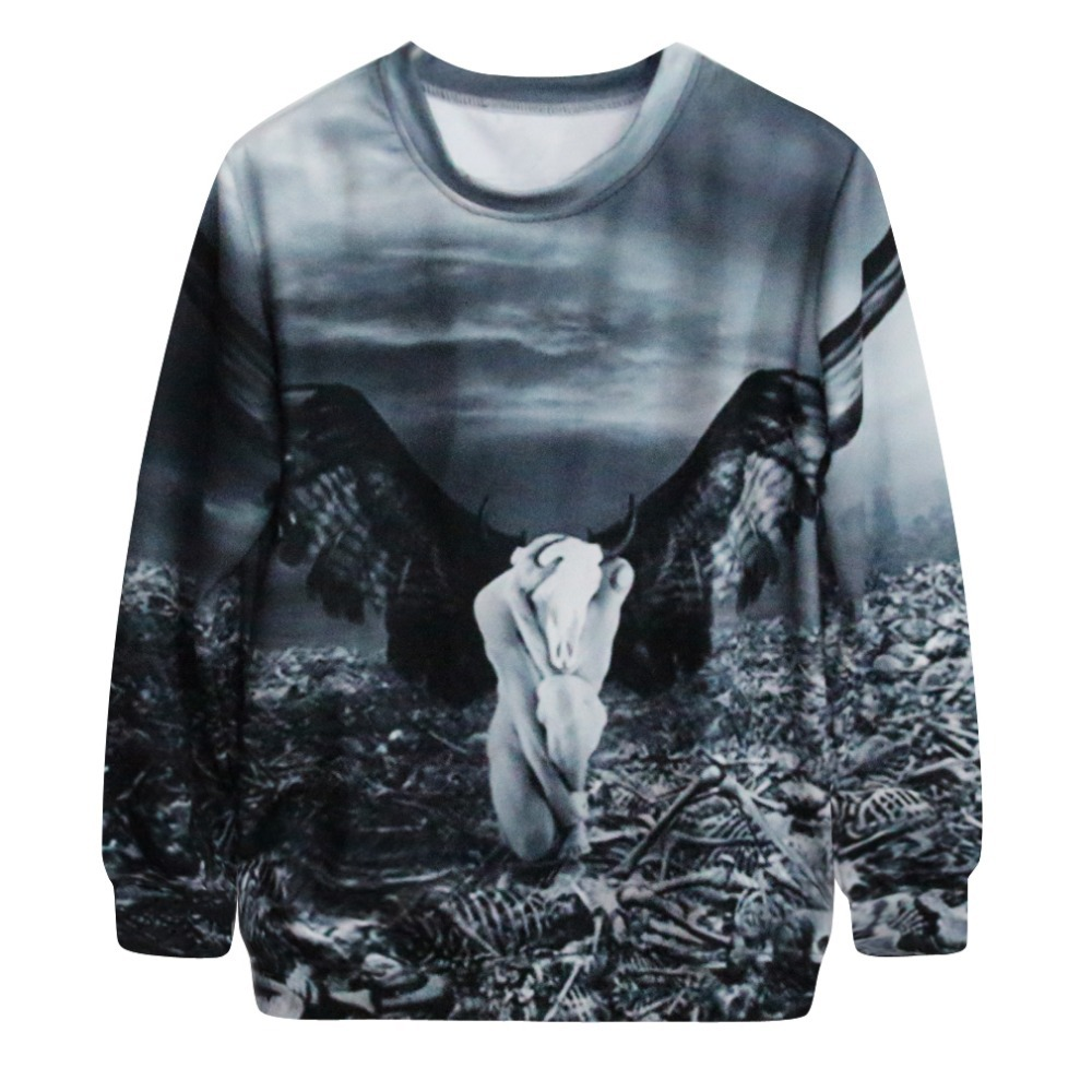 G5 2015 female fashion long sleeved casual hoodies Winged people printing pattern sports sweatshirt plus size(China (Mainland))