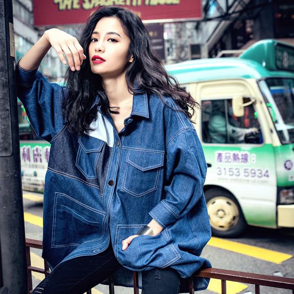 Fashion Denim jacket women fall long sleeve coat korean clothes patchwork Pockets jeans womens winter jackets coats