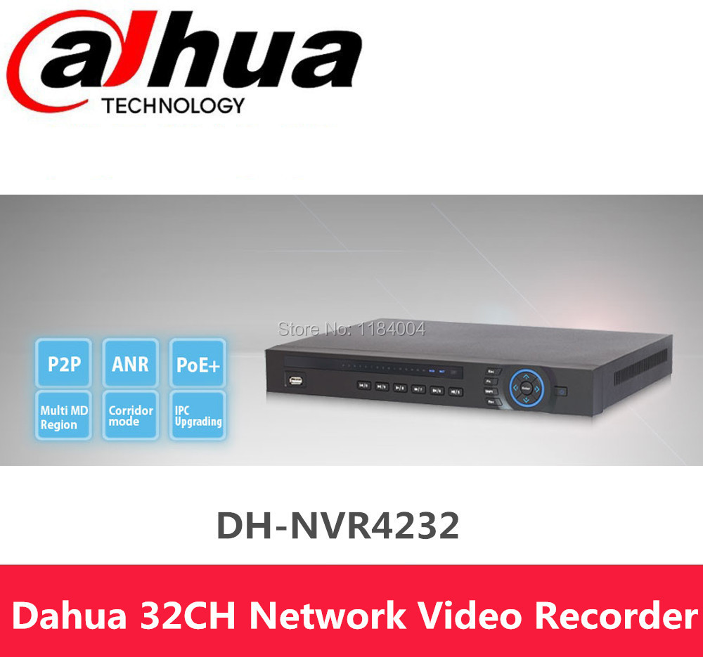 Dahua NVR HDMI/VGA video output 32CH 1U Network Video Recorder NVR4232 Support 2 SATA HDDs up to 8TB with 4 channel Alarm Input(China (Mainland))